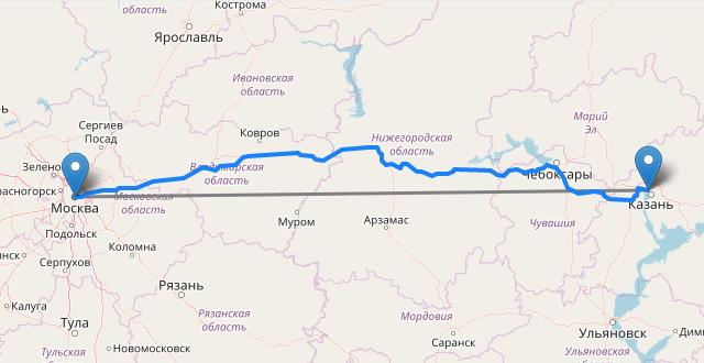 Рассчитать расстояние между городами на карте